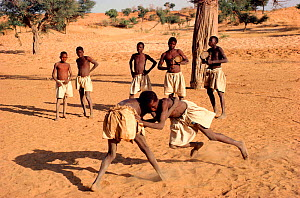 Dogon boys wrestling to beat of goatskin drums, a local tradition. Mali, West Africa, 1981. - Bryan and Cherry Alexander