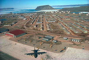 Aerial view of the US Airforce Base at Thule. Northwest Greenland, 1985. Editorial use only. - Bryan and Cherry Alexander