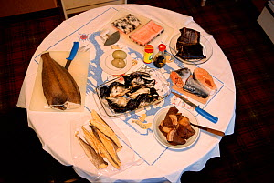 Table of traditional North Greenlandic foods:  Greenland Halibut, Mattaq (Narwhal skin), eider duck eggs, dried narwhal meat, Arctic char, boiled seal meat & dried polar cod, Thule, Northwest Greenlan...  -  Bryan and Cherry Alexander