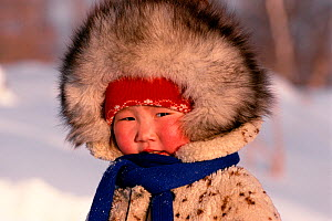 Evenk girl warmly dressed in the cold. Evenkiya, Siberia, Russia, 1997.  -  Bryan and Cherry Alexander