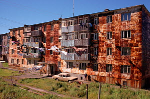 Apartment blocks with rusting facades in Petropavlovsk. Kamchatka, Siberia, Russia, 1999.  -  Bryan and Cherry Alexander