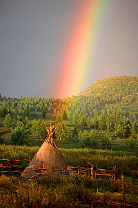 Rainbow over herders' tent in Todzhu. Republic of Tuva, Siberia, Russia, 1998. - Bryan and Cherry Alexander
