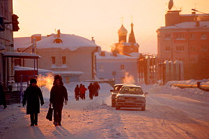 People in the street in centre of Dudinka during winter. Taymyr, Northern Siberia, Russia, 2004.  -  Bryan and Cherry Alexander