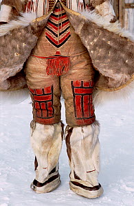 Traditional Nganasan woman's Reindeer / Caribou skin under garment worn with knee length boots. Taymyr, Northern Siberia, Russia, 2004. - Bryan and Cherry Alexander