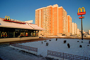 McDonald's restaurant surrounded by apartment blocks in a Moscow suburb, Russia.  -  Bryan and Cherry Alexander