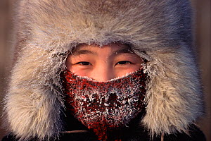 Girl frosted up at -52 degrees celsius in winter. Verkhoyansk, Yakutia, Siberia, Russia, 1999. - Bryan and Cherry Alexander