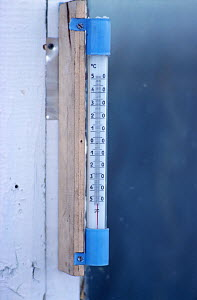 Thermometer showing reading of -52 degrees celsius at Verkhoyansk. Yakutia, Siberia, Russia, 1999. - Bryan and Cherry Alexander