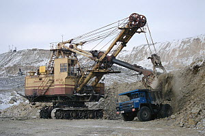 Giant digger loading ore into back of truck at an open mine near Norilsk. Western Siberia, Russia, 2000.  -  Bryan and Cherry Alexander