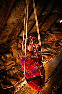 Nenets baby hanging in cradle inside Reindeer / Caribou skin tent. Yamal, Siberia, Russia, 1996. - Bryan and Cherry Alexander
