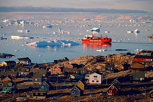 Freight Ship leaving harbour amongst small icebergs. Ilulissat, West Greenland, 1995.  -  Bryan and Cherry Alexander