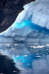 Ribbon of clear blue ice runing through an iceberg, West Greenland, 1997. - Bryan and Cherry Alexander