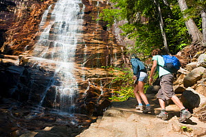 Two people hiking at Arethusa Falls, Crawford Notch State Park, White Mountains, New Hampshire, USA. August 2009 - Jerry Monkman