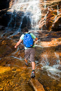 A man hiking at Arethusa Falls, Crawford Notch State Park, White Mountains, New Hampshire, USA. August 2009 - Jerry Monkman