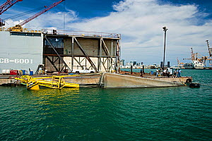 Large wave-energy buoy, partially submerged, in Honolulu Harbour before being towed to Kaneoho Bay, Oahu, Hawaii. The 40-kW experimental buoy employs the bobbing motion of the buoy to drive an electri... - David Fleetham