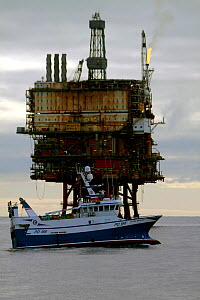 "Fishing vessel ""Ocean Harvest"" operating close to the ""Beryl Bravo"" production platform, 160 miles Northeast of Aberdeen, in the North Sea. March 2010. - Philip Stephen"
