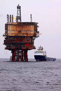 "Oil rig supply vessel ""Strilmoy"" offloading at the ""Beryl bravo"" platform, North Sea, March 2010. - Philip Stephen"