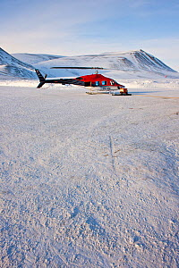 Helicopter, Air Greenland, local transport, Constaple Point, North East Greenland. February 2009.  -  Uri Golman