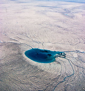 Aerial view of Meltwater lake, Greenland. August 2008. - Uri Golman
