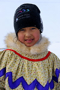 Portrait of a young inuit girl, Banks Island, North West Territories, Canada April 2010  -  Eric Baccega
