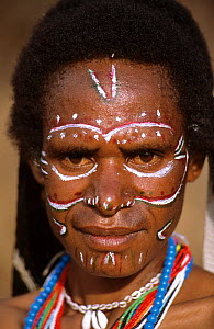 Portrait of a Dani woman with painted face, Baliem valley, West Papua, former Irian-Jaya, Indonesia, August 2002  -  Eric Baccega