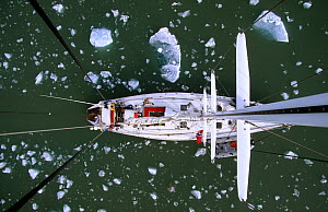 View of sailboat from directly above, showing  deck, and floating ice. King's Bay, Spizbergen, Svalbard Archipelago, Norway, July 2000  -  Eric Baccega