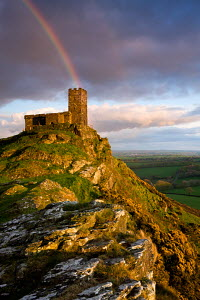Rainbow above Brentor Church, Dartmoor National Park, Devon, England. Spring - April 2009  -  Adam Burton