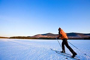 Man cross-country skiing on First West Branch Pond with White Cap Mountain is in the distance. Greenville, Maine, USA, March 2009, Model released.  -  Jerry Monkman
