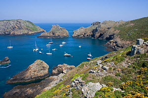 Boats moored in the natural harbour of Harve Gosselin, Sark, Channel Isles, UK, Summer 2009 - Sue Daly