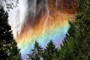 Sunlight creating a rainbow in the spray of the Bridalveil Falls, Yosemite National Park, California, USA, June 2008 - Thomas Lazar