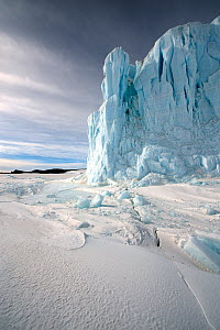 Glacier and sea ice, with crack in ice visible, McMurdo Sound, Ross Sea, Antarctica, November 2008  -  Neil Lucas