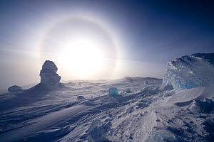Sundog / Parhelion (circle of light around the sun) with large ice fumerole in the foreground, McMurdo Sound, Ross Sea, Antarctica, November 2008  -  Neil Lucas