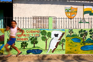 Young girl runs past mural which promotes protection of the Cotton-top tamarin. Los Limites, Colombia, South America. February 2008  -  Lisa Hoffner