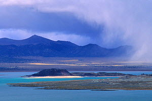 An autumn storm sweeps across the Mono Basin from the east slope of the Sierra Nevada Mountains. Mono Lake, Mono Basin National Forest Scenic Area, October 1997.  -  Jenny E. Ross
