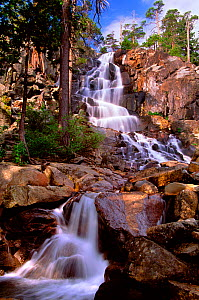 Early morning at lower Eagle Falls near Lake Tahoe, California. The waterfall ultimately flows into Emerald Bay on the western side of Lake Tahoe in the Sierra Nevada Mountains, California, USA. Augus...  -  Jenny E. Ross