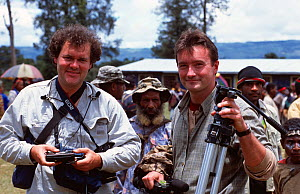 Producer, Huw Cordey, and cameraman, Paul Stewart, Tari Valley, Papua New Guinea during filming for BBC series Planet Earth, August 2004.  -  Tom Clarke