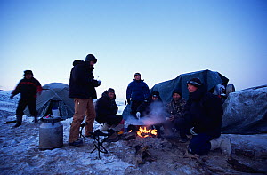Film crew around campfire and tents with their guides for filming wild bactrian camels, Great Gobi National Park, Gobi Desert, Mongolia for Deserts episode of BBC NHU TV series Planet Earth, January 2...  -  Tom Clarke