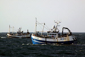 "Pair trawlers ""Onward"" and ""Beryl"" fishing in the Norwegian sector of the North Sea. May 2010. - Philip Stephen"