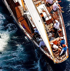 Aftdeck of a classic yacht, viewed from above at the Panerai Antigua Classic Yacht Regatta, Caribbean, April 2010.  -  Onne van der Wal