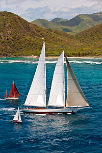 "Two smaller yachts flanking schooner ""Windrose"" at the Panerai Antigua Classic Yacht Regatta, Caribbean, April 2010.  -  Onne van der Wal"