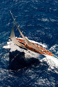 "J-Class ""Velsheda"" sailing at the Panerai Antigua Classic Yacht Regatta, Caribbean, April 2010.  -  Onne van der Wal"
