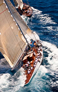 "J-Classes ""Ranger"" and ""Velsheda"" racing at the Panerai Antigua Classic Yacht Regatta, Caribbean, April 2010.  -  Onne van der Wal"