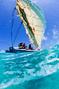 Sailing-boat during the Bahamian Sloop regatta, Georgetown, Exumas, Bahamas. April 2009. - Onne van der Wal