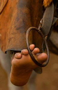 Close up of the foot of a Pantanal 'Boiadeiro' cowboy, showing the traditional stirrup of the region. They wear hard-wearing leather chaps over jeans or even shorts. Pantanal. Mato Grosso do Sul Provi... - Pete Oxford