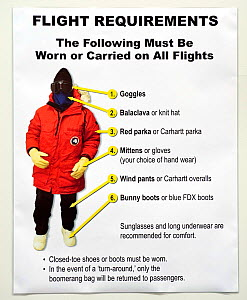 Poster showing what clothing and equipment should be worn on airplane flights to Antarctica, Christchurch, New Zealand - Neil Lucas