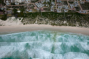Aerial view houses, beach and surf, Cape Agulhas, South Africa, August  2009  -  Richard Du Toit