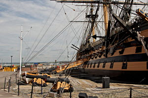 """HMS Victory"" berthed at Historic Naval Dockyard, Portsmouth, England, July 2010. Editorial use only. - Norma Brazendale"