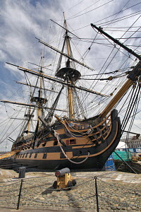 """HMS Victory"" in dry dock, Historic Naval Dockyard, Portsmouth, UK, July 2010. Editorial use only. - Graham Brazendale"