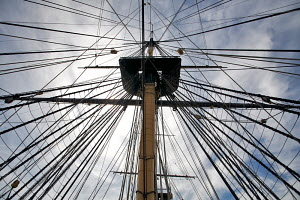"Looking up at the fighting top (main mast) of ""HMS Victory"", Historic Naval Dockyard, Portsmouth, UK, July 2010. Editorial use only. - Graham Brazendale"