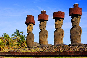 Four giant Moai statues in Ahu Nau Nau, Anakena beach, Easter Island  Pacific ocean, November 2004 - Oriol Alamany