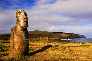 Giant moai statue in Ahu Tongariki with Poike Peninsula in the background, Easter Island, Pacific ocean, November 2004  -  Oriol Alamany